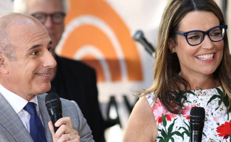 "NEW YORK - JULY 22, 2016: Matt Lauer and Savannah Guthrie appear on the NBC ""Today"" show on July 22, 2016, in New York City. Shutterstock/ JStone"