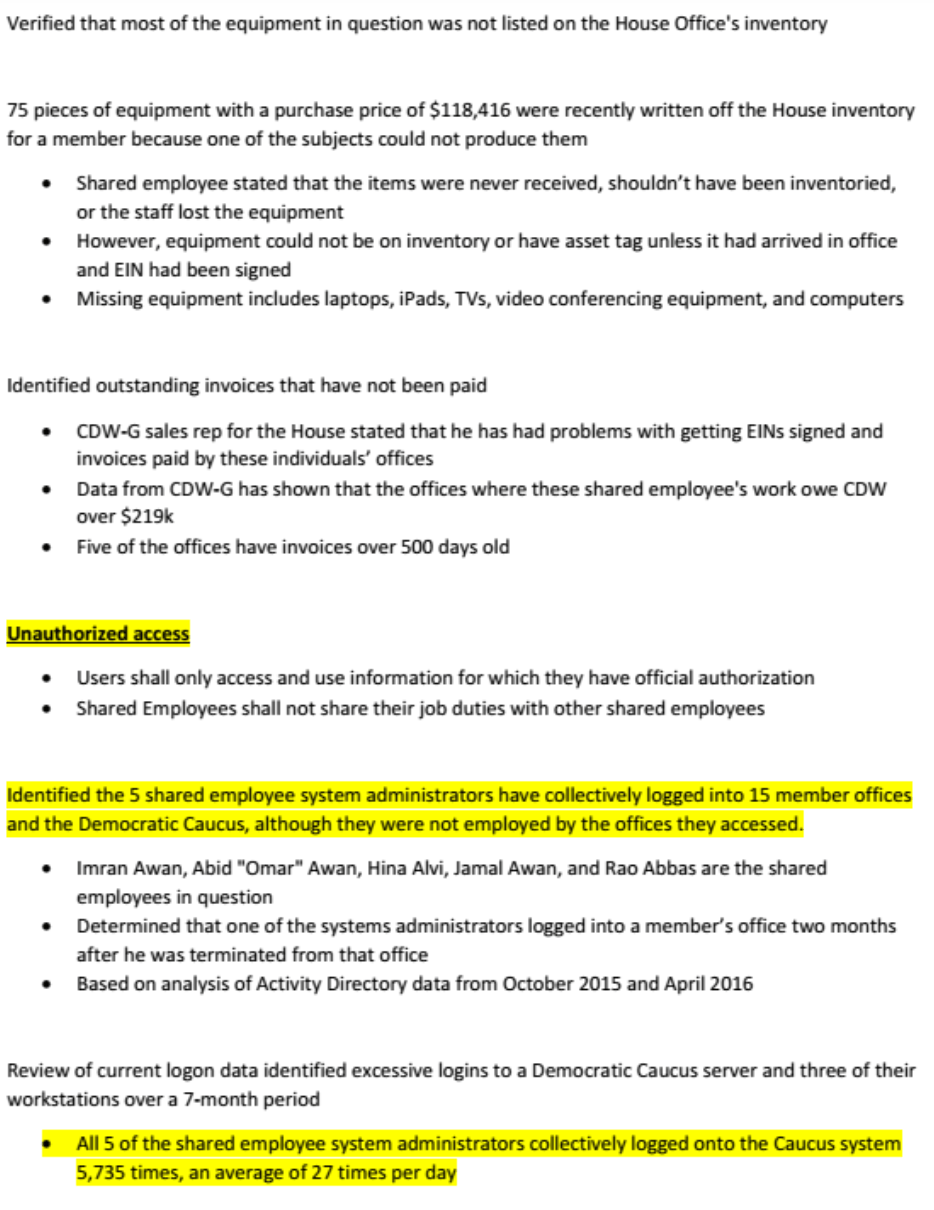 Page two of the House Inspector General's report on Imran Awan.