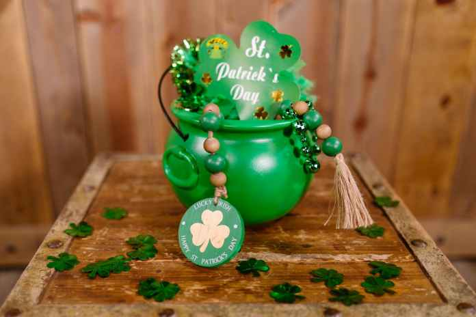 happy new year greeting with green ceramic mug
