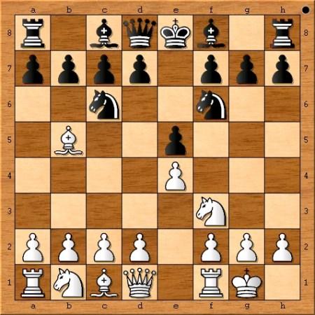 Position after Magnus Carlsen castles on move 4.