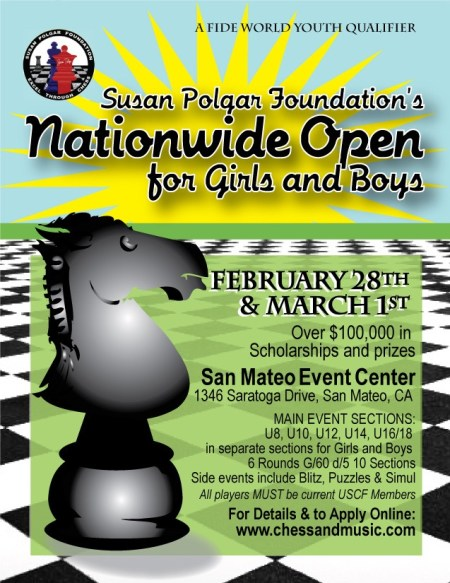 Poster for the Susan Polgar Foundation's Nationwide Open for Girls and Boys.