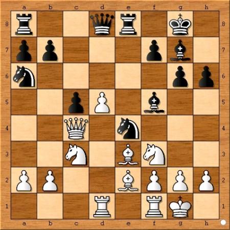 Position after Magnus Carlsen plays 14... Ne4.