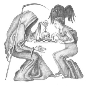 Drawing from: http://www.horrorsniped.com/original-modern-drawing-raven-crow-ryta-halloween-horror-skull-chess-game-art