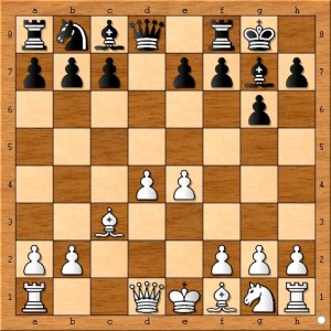 Position after Magnus Carlsen castled on move 7.