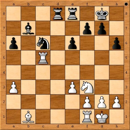 The position after Viswanathan Anand plays 24. Rxc5.