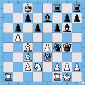 The position before move 22. Qxf4!!!!