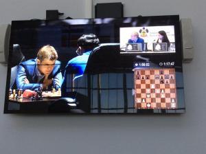 Viswanathan Anand battling Magnus Carlsen in round 1 of their 2014 World Chess Championship Match(photo by Beatriz Marinello)