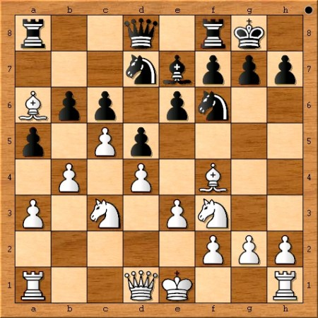 Position after Viswanathan Anand plays 11. Bxa6.