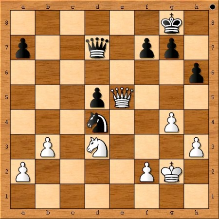 The position after Magnus Carlsen plays 35. Qe5.