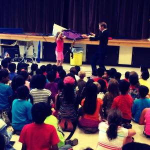 Midweek, I arranged to have a real magician perform for our students!