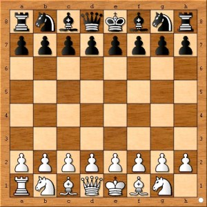 The starting position. White had 5 minutes while black has 10.