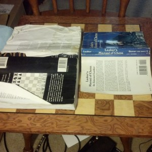 My very used copies of Chess: 5334 and Lasker's Manual of Chess.