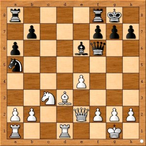 A forced recapture which exposes black's queen to white's dagger.