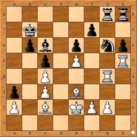 The position after Viswanathan Anand plays 27... a3.