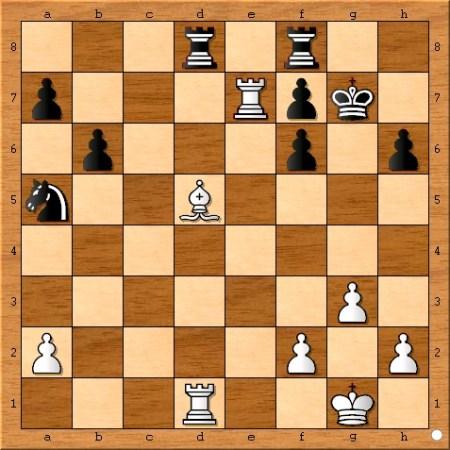 The position after Magnus Carlsen plays 25... Kg7.