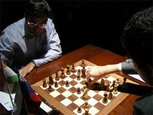 Viswanathan Anand at the chess board.
