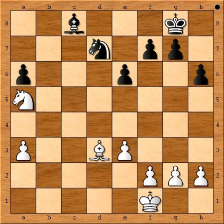 The position after Viswanathan Anand plays 32. Kf1.