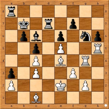 The position after Viswanathan Anand plays 32... Bc6.