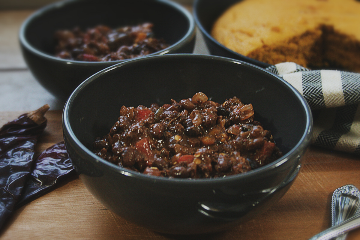 Chipotle Venison Chili with Roasted Poblanos and Guajillo Chiles