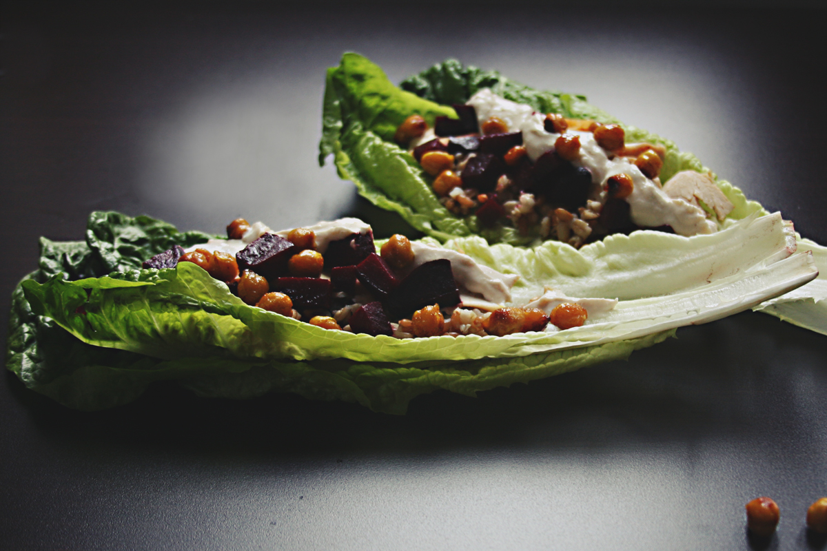 Lettuce Wraps with Honey Roasted Chickpeas