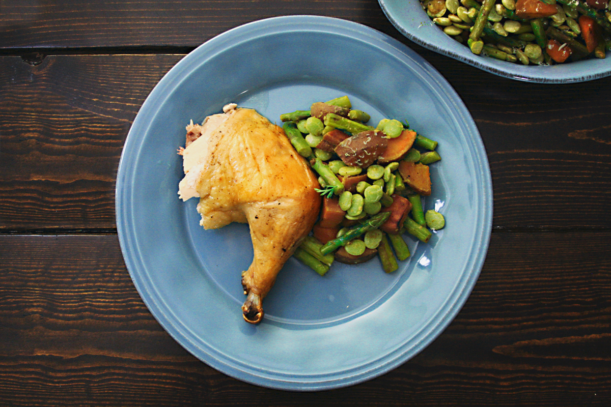 Whole Roasted Chicken with Asparagus Sweet Potato Lima Bean Hash