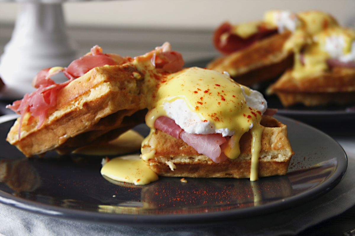Waffle Eggs Benedict with Prosciutto