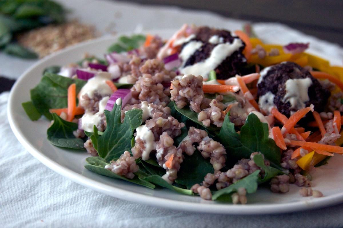 Venison Kofta Meatballs with Mediterranean Salad