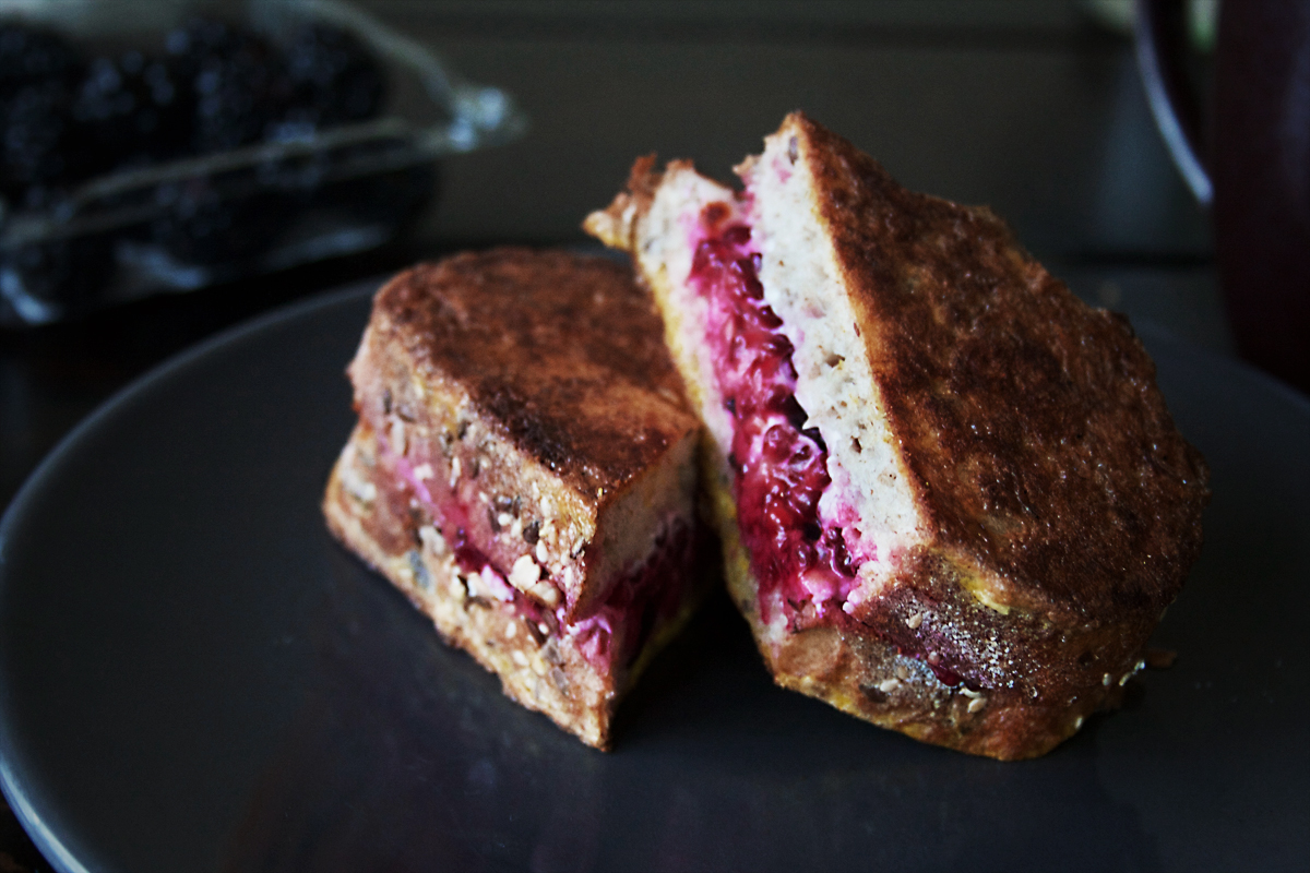 Blackberry Goat Cheese French Toast Sandwich with Basil