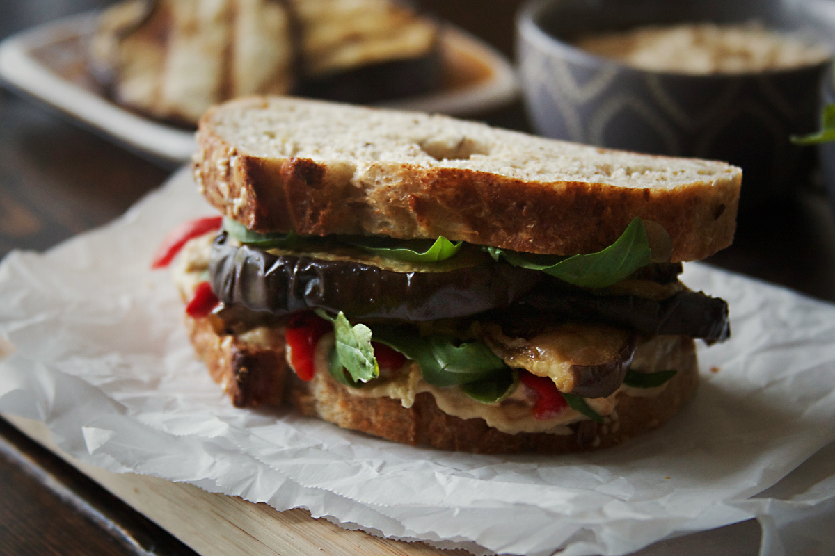 Grilled Eggplant Sandwich with Hummus and Roasted Red Pepper