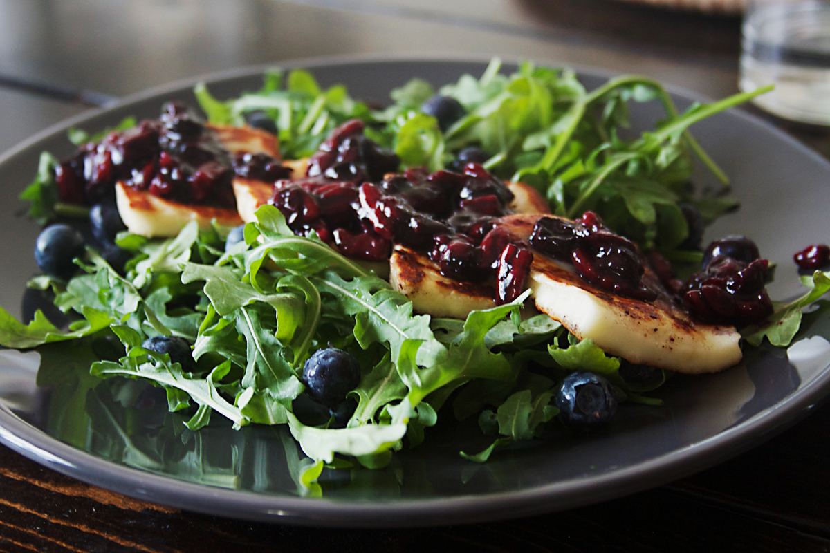 Grilled Halloumi Salad with Maple Blueberry Balsamic Pecan Compote