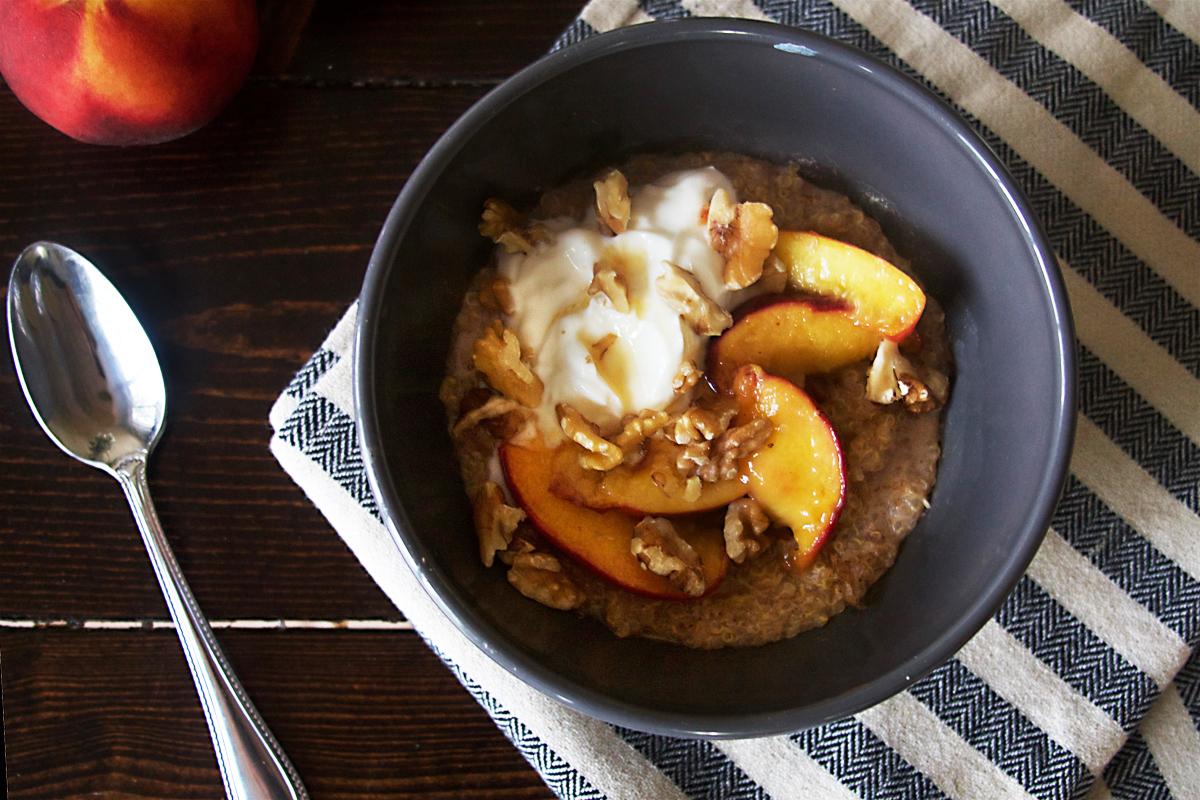 Quinoa Breakfast Porridge with Sautéed Peaches