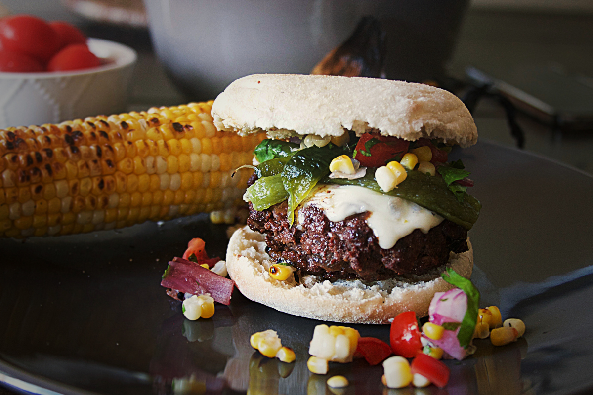 Mexican Chorizo Venison Burgers with Roasted Poblanos and Corn Salsa