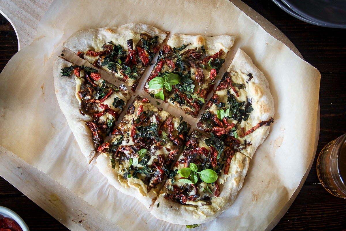 Vegan Kale Pizza with Cashew Cheese and Balsamic Reduction