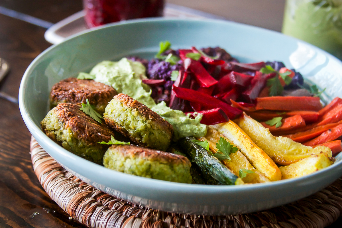 Easy Rainbow Falafel Bowls with Quick Pickled Beets and Cashew Green Sauce