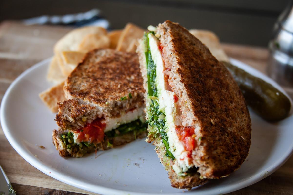 Vegan Caprese Sandwich with Homemade Pesto