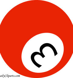 number 3 pool ball red color clipart icon [ 1024 x 1024 Pixel ]