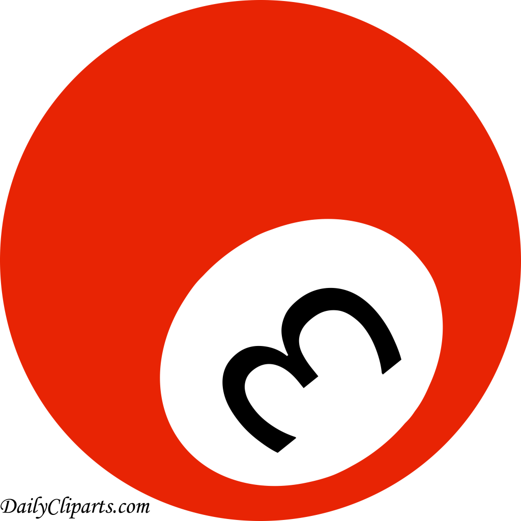 hight resolution of number 3 pool ball red color clipart icon