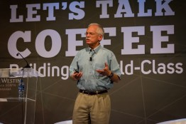 Rick Peyser speaks during his presentation 'Back to the Future 2.0' . This was focused on a look back at his lengthy career with Keurig Green Mountain.