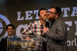 Phil Beattie (Dillanos Coffee) and Stephen Vick (Blue Bottle Coffee) present 'rub beards' and prevent an award at the Harvee Awards