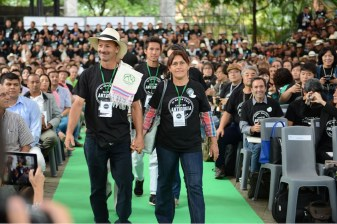 The awards ceremony for Antioquia's Best Cup in Medellin. Second place winners. Farmer Conrado Antonio Marin on left. Photo by Mark Shimahara.