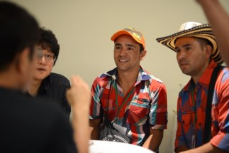 Producers meeting with buyers who won their micro lots at the Antioquia's Best Cup Auction. Photo by Mark Shimahara.