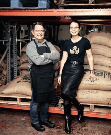 Alan Spear and Mary Allen Lindemann, co-founders, at the Diamond Street roastery. Photo by Michael D. Wilson.