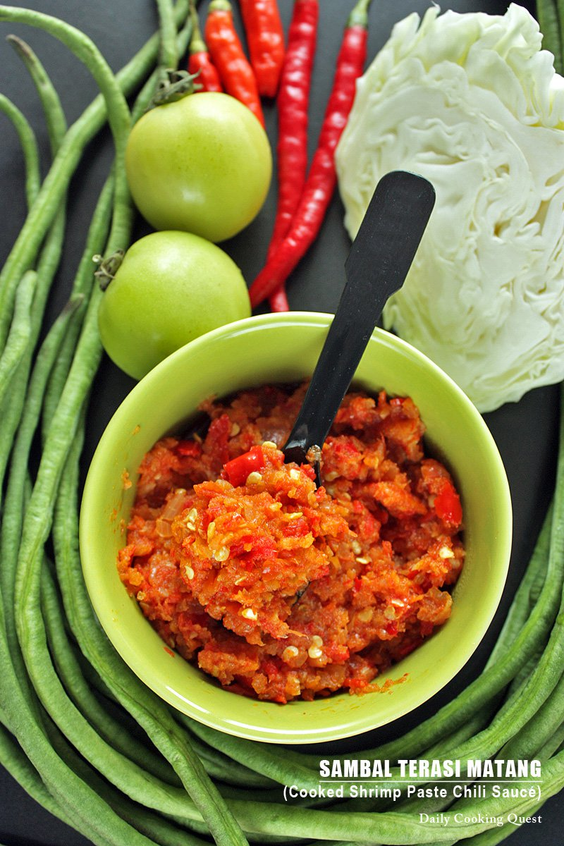 Resep Sambal Lalapan : resep, sambal, lalapan, Sambal, Terasi, Matang, Cooked, Shrimp, Paste, Chili, Sauce, Recipe, Daily, Cooking, Quest