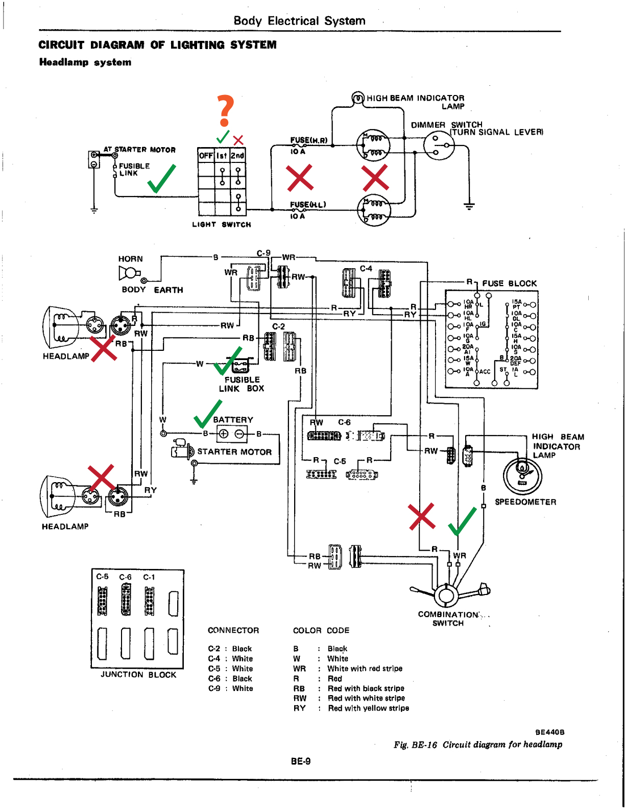 combination switch wiring diagram start stop headlights  the daily datsun