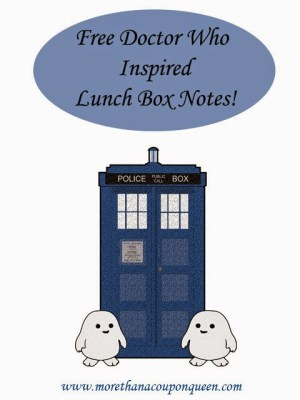 FREE Doctor Who Inspired Lunch Box Notes