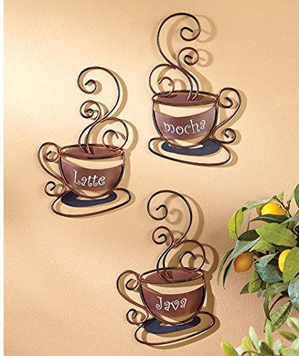 Metal Coffee Cups Decorative Wall Plaques