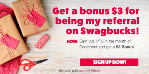 Get $3 when you sign up for Swagbucks in December