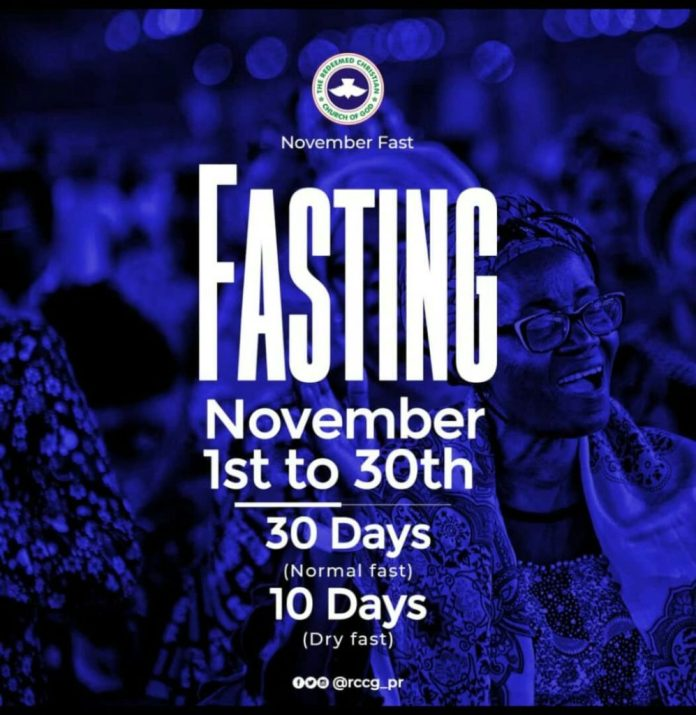 RCCG November 2019 30 Days Fasting Prayer Points Day 10