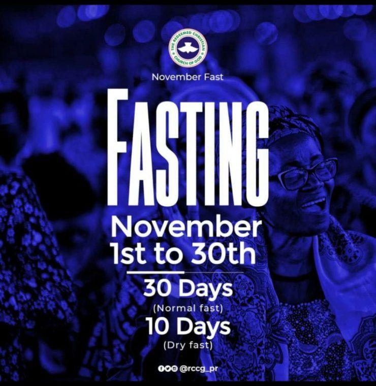 RCCG November 2019 30 Days Fasting Prayer Points Day 7