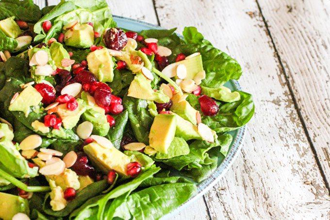 Holiday Avocado, Pomegranate Spinach Salad